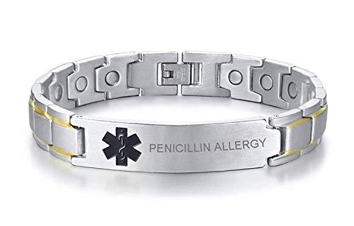 VNOX Pulsera de alerta médica personalizada con símbolo negro de acero inoxidable, terapia magnética, para hombre, alergia a penicillin