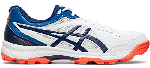 ASICS Men White/Blue Expanse Leather Cricket Shoes-10 UK (45 EU) (11 US) (P613Y)