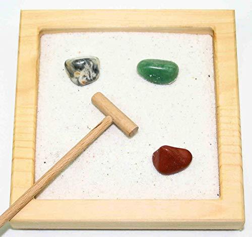 Zen Garden S Nature avec pierres précieuses, râteau et sable - 3 pierres aléatoires