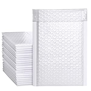 Metronic White Bubble Mailers 50 Pack, 6×10 Bubble Poly Mailers, Self-Seal Shipping Bags, Padded Envelopes, Bubble…