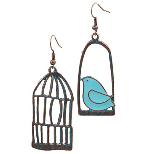 Holibanna 1 Pair Asymmetric Cage Bird Earrings Dangle Earrings Vintage Ear Drop