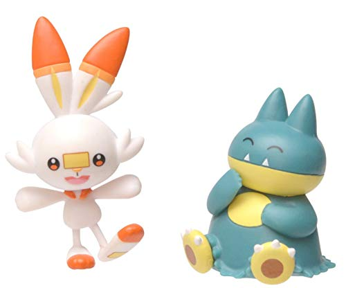 Pokemon New Sword and Shield Battle Action Figure 2 Pack - Munchlax and Scorbunny 2' Figures