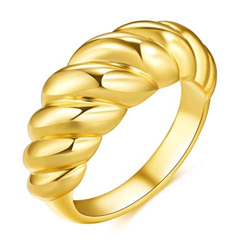 Chilits Anillo de rosca chapado en oro con anillo trenzado de croissant trenzado simple y a la moda para mujeres y niñas, boda, compromiso, aniversario