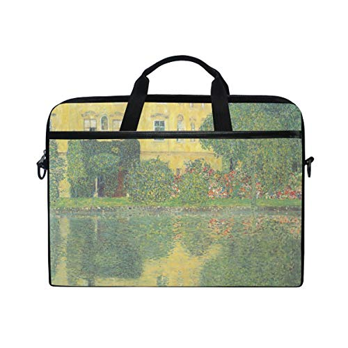 Ahomy 13.3-14 Inch Laptop Bag, Castle On The Lake Attersee Gustav Klimt Multifunctional Fabric Waterproof Laptop Case Briefcase With Shoulder Strap