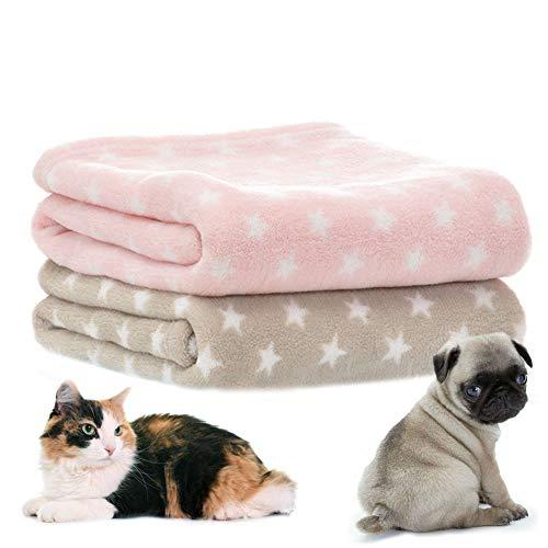 LeerKing Hundedecke Katzendecke 2er Pack Schlafdecke maschinenwaschbar Welpendecke kleine Tierdecke für Sofa und Tierbett 75 * 100cm 2er Pack Pink Hellgrau Weiß