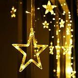 LED Lichterkette 12 Sterne, Lichtervorhang weihnachtslichter Sternenvorhang 138 LEDs 8 Modi Für Innen Außen, Weihnachten, Party, Hochzeit, Garten, Balkon, Deko (Warmweiß)