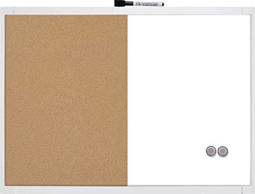 Rexel 1903784- Pizarra magnética, limpieza en seco, tablón de corcho, 585 x 430 mm, molduras de plástico, incluye marcador, imanes y juego de accesorios, cuadros en colores aleatorias