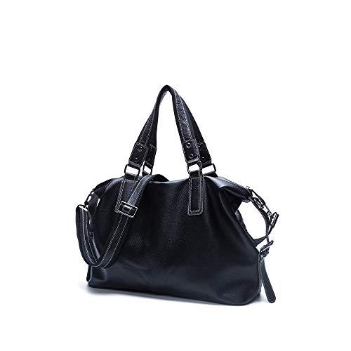 Luyshts Outdoor Backpack Leather Men's Bag Trend Casual Shoulder Bag Fashion Messenger Bag 15 Inch Handbag Large Capacity Internal (Color : Black)