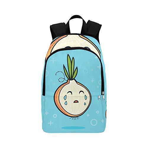 Mochila Escolar Informal Dibujos Animados Cebolla Sonriente Verduras Duradera Resistente al Agua Mochila Escolar clásica para niños pequeños Bolsas Deportivas para Hombres Bolso Cruzado Moch