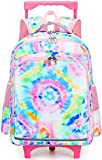 CAMTOP Rolling Backpack Girls Roller Bag with Wheels Kids School Bags Wheeled Backpack (Tie Dye)