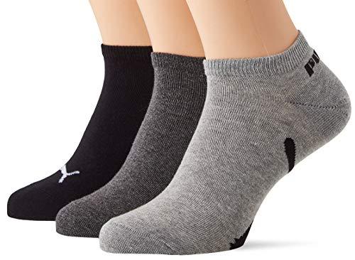 PUMA Lifestyle Sneaker-Trainer Socks (3 Pack) Calcetines, Black/White, 39/42 Unisex Adulto