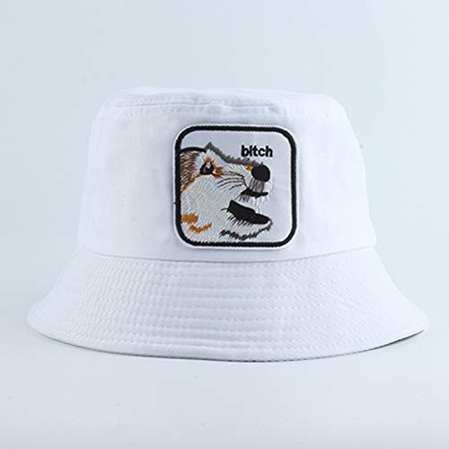 MTBDLYQ Chapeau De Pêcheur Femme,Unisex Fisherman Hat Animal Chienne Broderie Pliable Bucket Cap, Hommes Femmes Randonnée Voyage Pêche Chapeau De Pêche en Plein Air Coton Blanc Coréen Sun Hat