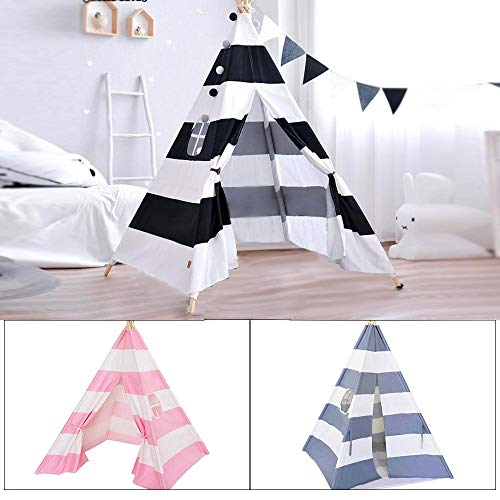 N/D Kids Teepee ,120*120*140cm,Cotton Portable Canvas Kids Teepee Tent for Indoor Outdoor Play House,Princess Girls Tent(Black)