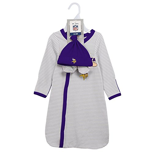 NFL Minnesota Vikings Toddler Outerstuff Gown, Hat And Bootie Set, Team Color , 0-6 Months