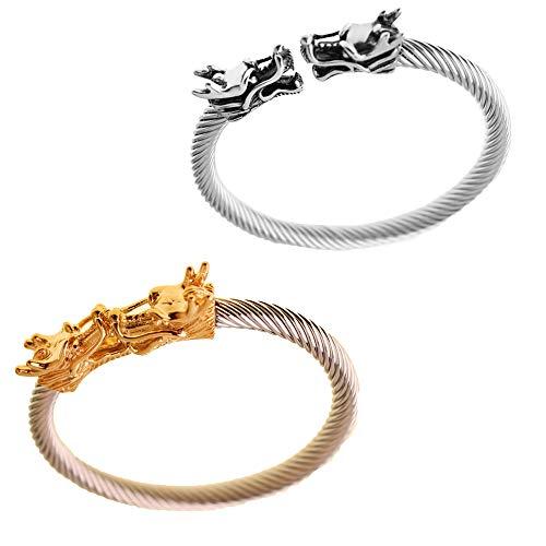 Bracelet Dragon - Deux Bracelets en Tête de Dragon avec Un Style Viking et Acier tressé Inoxydable. Couleur Argent et Or - Réglable