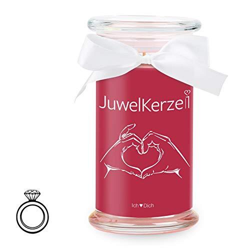 JuwelKerze Ich Liebe Dich - Kerze im Glas mit Schmuck - Große rote Duftkerze mit Überraschung als Geschenk für Sie (Silber Ring, Brenndauer: 90-120 Stunden)(M)