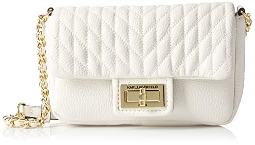 Karl Lagerfeld Paris Agyness Quilted Flap Crossbody, Winter White Deep