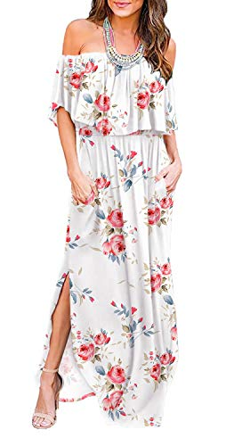 LILBETTER Women Floral Print Off Shoulder Maxi Dresses (F White,X-Large)