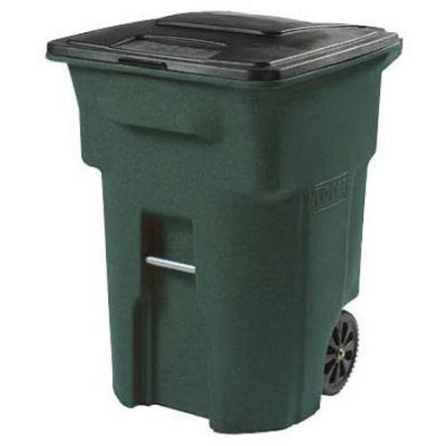 Toter 025596-R1GRS Residential Heavy Duty 2-Wheeled Trash Can with Attached Lid, 96-Gallon, Greenstone