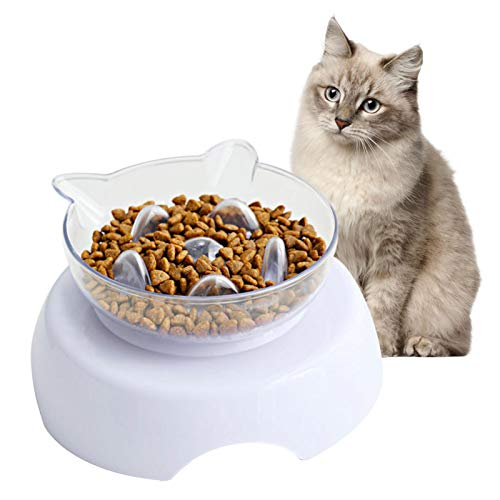 ZHIYA Comedero Perro Gato Alimento antideslizante Plato alimentador Tazón Comedero para Mascotas Bebedero Cuenco Bol Recipiente richly