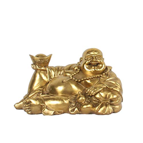 NYKK Buddha figurine Brass Sitting Laughing Buddha With Money Frog Protect House Peace Wealth Decoration Statue Ornament
