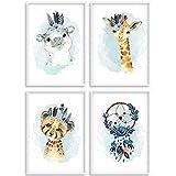 HappyArts | Kinderzimmer Bilder A4 Poster 4er-Set Deko