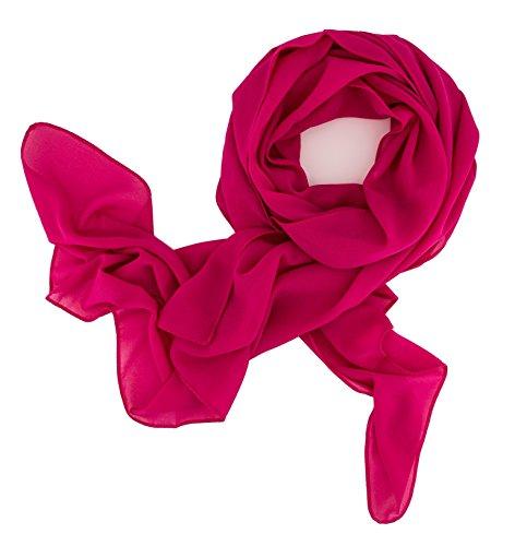 DOLCE ABBRACCIO'SWEET LOVE' Damen Schal Stola Halstuch Tuch aus Chiffon für Frühling Sommer Ganzjährig (Magenta)