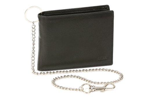 LEAS Biker portemonnee portemonnee met chroom-keten horizontaal formaat, echt leer, zwarte ketting-serie