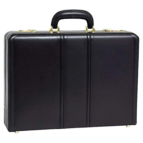 [Personalized Initials Embossing]McKleinUSA Mens COUGHLIN Leather Expandable Attache Case in Black