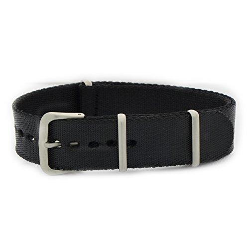 Armband textiel army satijnen lint zwart ansa 18mm voor Omega Panerai rolex Morellato