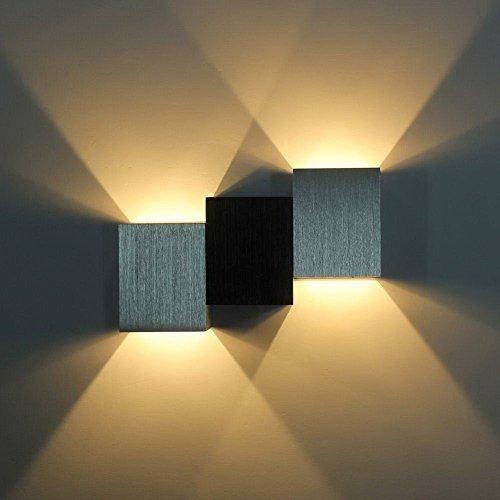 Amado ierly Applique murale LED 3 W Intérieur, Blanc Chaud, 2 LED, moderne designerlampen, aluminium brossé, UP DOWN Light, convient pour escalier entrée couloir