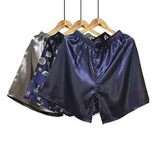 Wantschun Herren Satin Silk Unterwäsche Nachtwäsche Boxershorts Unterhosen Pyjama Bottom Shorts Pants Hose Grau+B+Blau EU L