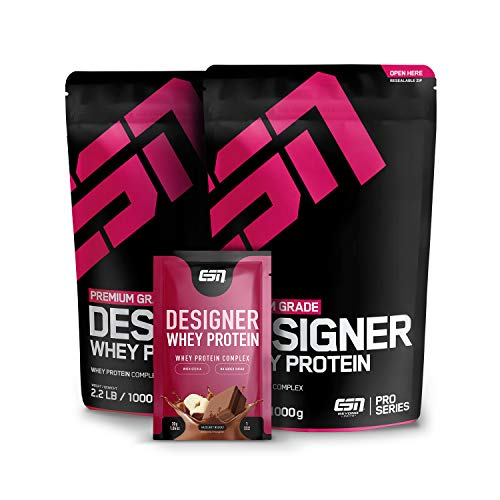 ESN Designer Whey Protein, 2 x 1000 g Hazelnut + Gratis ESN Designer Whey 30g Sample