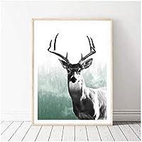 リビングルームの森の動物の鹿のキャンバスの絵画自然野生の鹿の壁のアート絵のキャンバスの絵画フレームなし