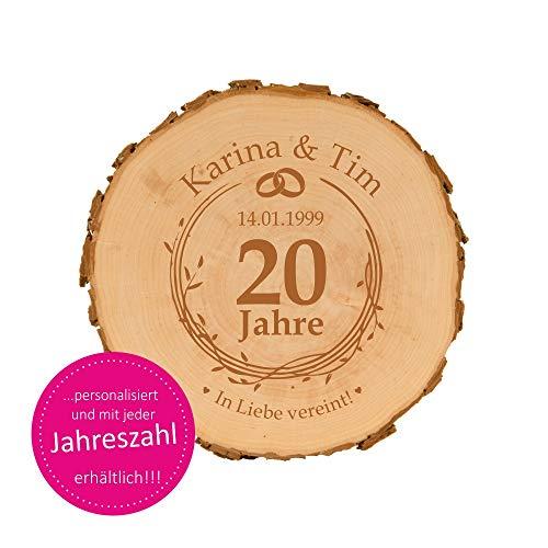4you Design Baumscheibe zum Hochzeitsjubiläum mit Gravur - personalisierte Holzscheibe - Geschenkidee zum Hochzeitstag - naturbelassen - Dekoration - Wanddeko