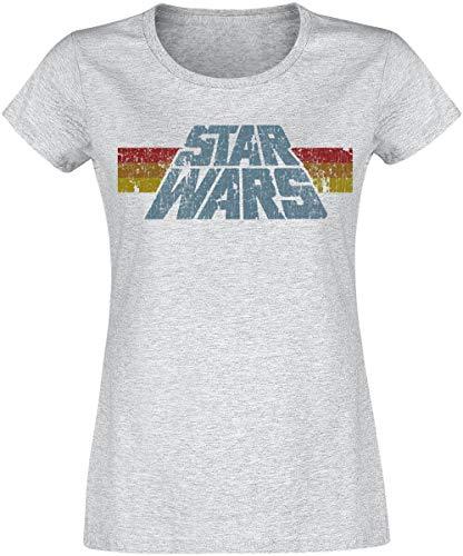 Star Wars Vintage 77 Mujer Camiseta Gris/Melé L, 97% algodón, 3% Poliester, Regular