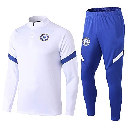LZMX Langärmelig Fußball-Trikot Chelsea Fußballmannschaft Club Trainingsanzug Team Spielen Zweiteiliger Anzug Rundhals Reißverschluss Pullover Jersey (Size : L)
