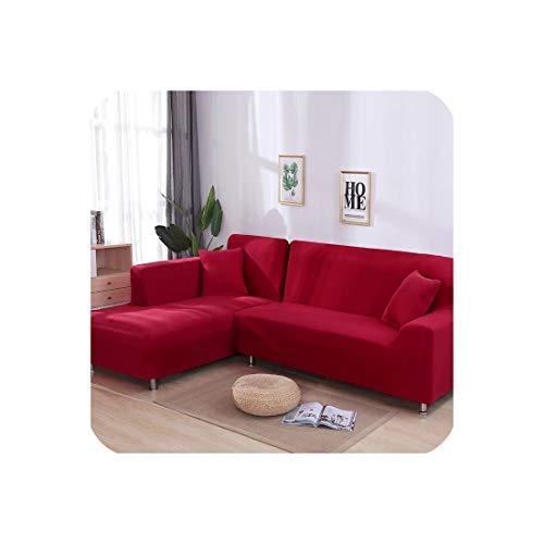 Funda de sofá elástica en forma de L para sala de estar, chaise longue, funda de sofá seccional, funda de sofá esquinera, forma de L, elástica, 2 unidades, Rojo, 1seater and 2seater