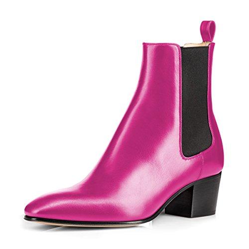 FSJ Women Chelsea Ankle Boots Closed Toe Chunky Block Low Heels Slip On Waterproof Shoes Size 12 Fuchsia