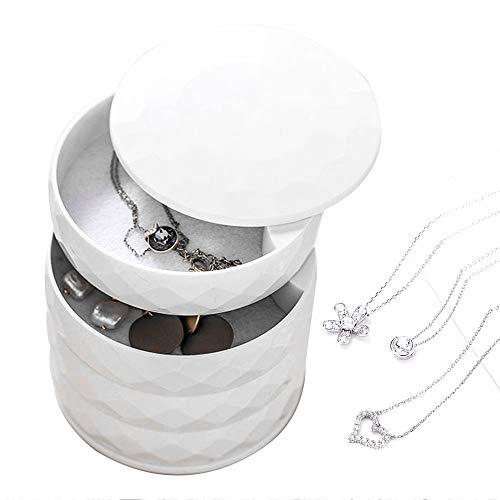 RASHION Schmuckkästchen Schmuckaufbewahrung Schmuckschatulle Damen Schmucktabletts 4 Ebenen Drehbar Schmuckdose für Ringe Ohrringe -Runde Form (Weiß)