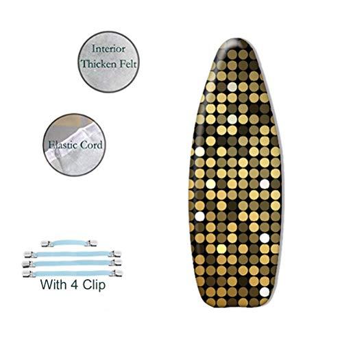 LSSUP Couverture de Planche à Repasser CapitonnéE de Coton de Textile à la Maison, AntidéRapant Personnalisable avec des Agrafes, ModèLe de Tache d'or 145X54Cm
