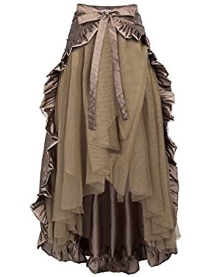 Renaissance Victorian Steampunk Pirate Skirt Bustle Style L Coffee