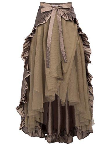 Belle Poque A-Línea Mujer Faldas Victoriana Sirena Pliegues Plisada Vintage Marrón L