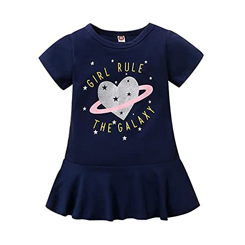 WOYAOFEI Neugeborenes Kind Sommerkleid Mädchen Letter Love Print Kleid Kurzarm Kinderkleidung Kurzes T-Shirt Kleid Größe: 80,90,100,110