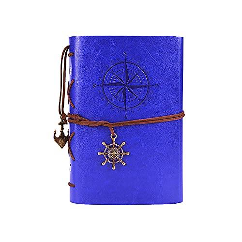 JUGTL Blanco Cuaderno Para Estudiante A6 Hojas Sueltas Ruled Diario Arte Retro Creativo Nostalgia Libreta Notas Azul A6 130MMX183MM