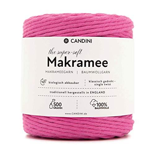 Candini Makramee Garn pink | 0,5kg | ca. 100m | 3,5 - 4mm | Super weiche Baumwolle - Qualität aus England - Baumwollgarn, Baumwollschnur für Macrame