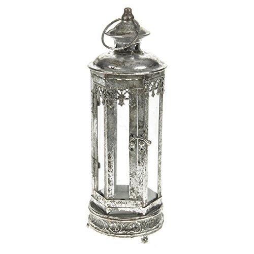 Lanterne Marrakech argentée - Dimensions : 12 x 12 x 35 cm - Pour l'intérieur ou l'extérieur
