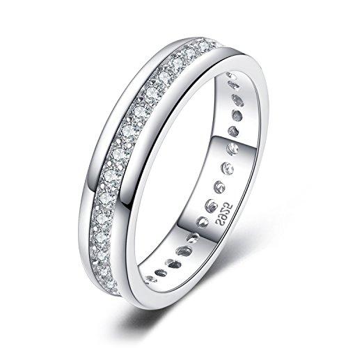 JewelryPalace Anillo Conjunto Aniversario y Boda Zirconia Cúbica Canal Banda Eternidad Plata de ley 925 Tamaño 14