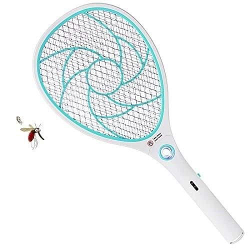 ZOMAKE Raqueta Matamoscas Electrico Matamosquitos, Plagas Insectos Asesino Repelente, Mata Insectos - USB Recargable - 3000 Voltios(Azul)