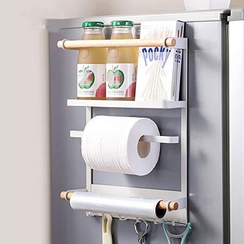HS-01 multifunctionele planken, grote capaciteit keukenplaten, koelkast zijrekken, ijzeren mand verf opslag rek 27 * 7,4 * 34CM / wit HS-01